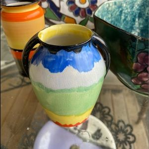 PAIR OF ENGLISH Colourful Vintage Vases
